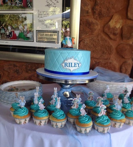 Peter rabbit theme baby shower cake and cupcakes
