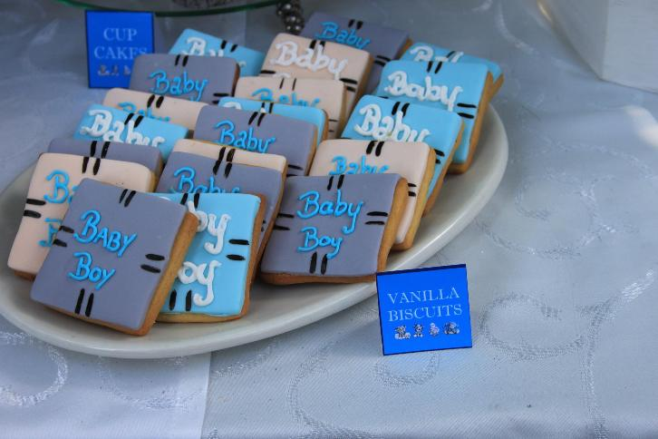 cute baby shower biscuits for a boy