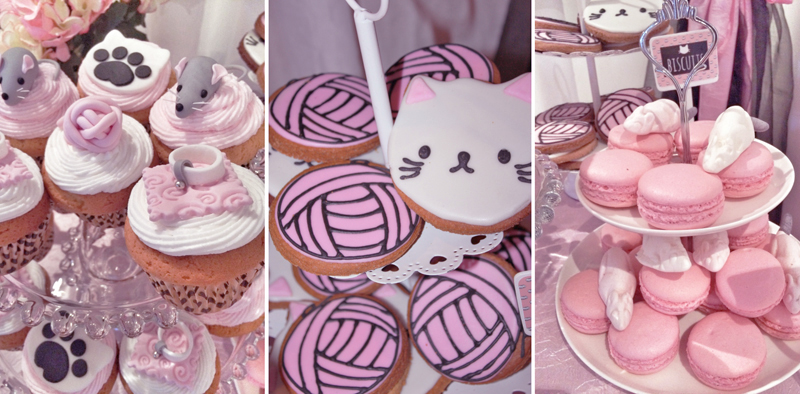 Cat themed cupcakes, biscuits and macarons.