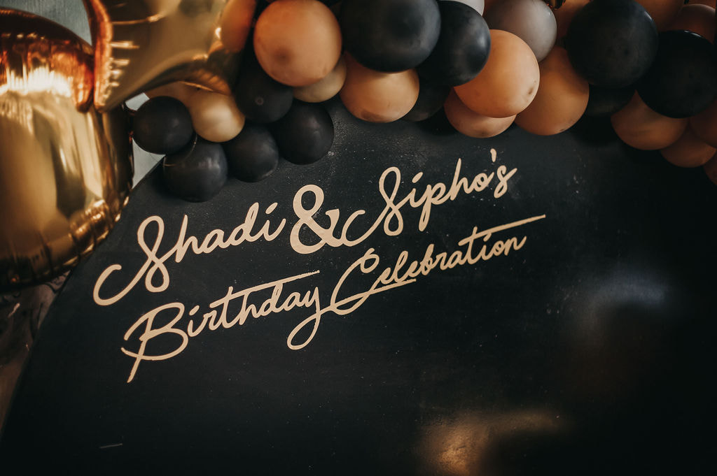 Black and gold birthday celebration. Event planner Pretoria and Johannesburg.