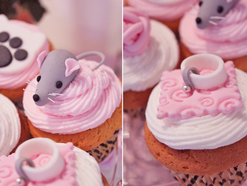 Cat and mouse cupcakes.